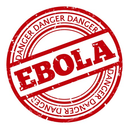 Red stamp with Ebola concept text on white background. Vector illustration for warning informing about deadly virus disease. Vector