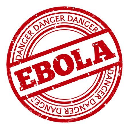 riesgo biologico: Sello rojo con el Ébola concepto de texto sobre fondo blanco. Ilustración vectorial para la alerta informando sobre la enfermedad mortal virus.