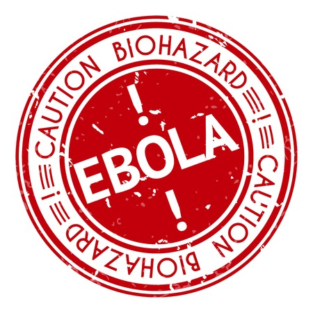 informing: Red stamp with Ebola concept text on white background. Vector illustration for warning informing about deadly virus disease. Illustration