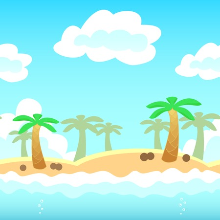 beach side: Beach background with palm, water and cloud. Vector illustration for holiday vocation design. Seamless tileable game background.