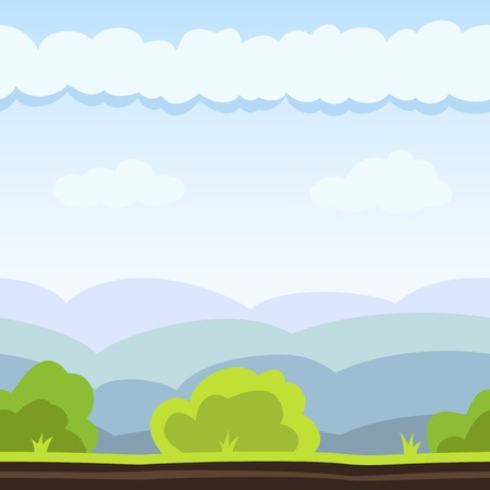 Nature background with hill, bush and cloud. Vector illustration for landscape design. Seamless tileable game background. Vector