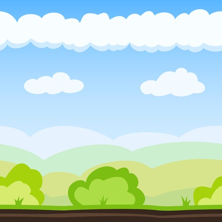 Nature background with hill, bush and cloud. Vector illustration for landscape design. Seamless tileable game background.