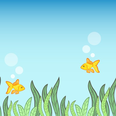tillable: Underwater background with yellow fish, algae. Vector illustration for water design. Seamless tillable game background.