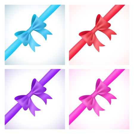 purple ribbon: Set of shiny bow and ribbon on white background. Vector illustration for your holiday gift design. Blue, red, purple and pink colors.