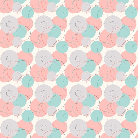 Abstract geometric line and round seamless pattern. Vector illustration for modern design. Blue, white, pink and grey color. Vector