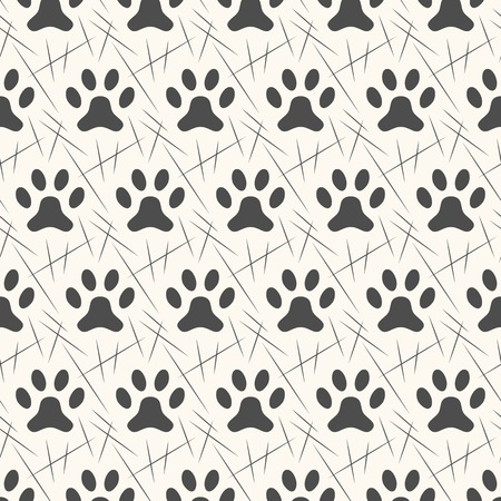 cat footprint: Seamless animal pattern of paw footprint. Endless texture can be used for printing onto fabric, web page background and paper or invitation. Polka dog style. White and black colors. Illustration