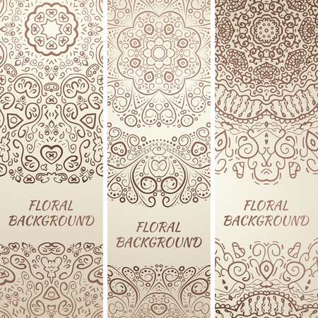 oriental rug: Tribal ethnic grunge banners. Vector illustration for your cute feminine romantic design. Aztec sign on white background. Beige color colors. Border and frame. Oriental rug napkin. Stripe pattern.