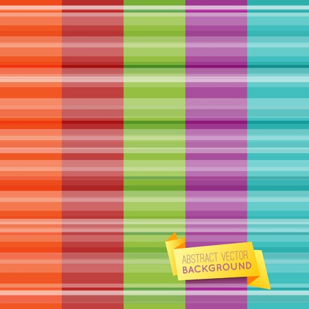 Set of abstract striped pattern wallpaper with yellow origami banner. Vector illustration for cute design. Light orange, red, green, purple and blue colors. Seamless vertical background. Vector