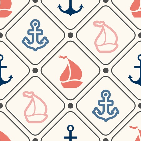 Seamless vector pattern of anchor, sailboat shape in frame and polka dot. Endless texture for printing onto web background or invitation. Abstract retro nautical style. White, black, red, blue colors Vector