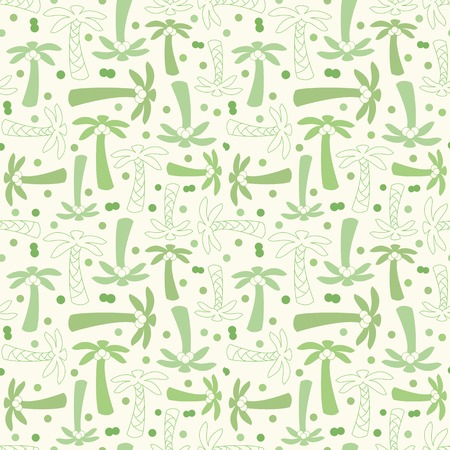 Coconut palm tree silhouette and outline seamless pattern with plant, leaf, stem and nut. Vector illustration of tropical natural design. Hand drawn elements. Endless print background texture. Retro