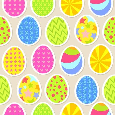 elipse: Colorido huevo de Pascua de fondo sin fisuras. Ilustración vectorial para su diseño divertido feliz vacaciones. Fondo de pantalla para la postal.