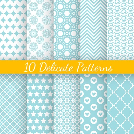 10 Vintage different vector seamless patterns. Endless texture for wallpaper, fill, web page background, surface texture. Set of monochrome geometric ornament. Blue and white shabby pastel colors. Vettoriali