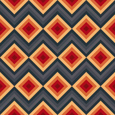 Modern elegant zig zag and rhombus seamless pattern. Vector illustration for beauty fashion design. Red, orange and black colors. Vintage stripe style. Vector