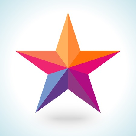 goodly: Bright colorful star shape in modern polygonal crystal style on white background. Vector illustration for holiday patriotic design. For party poster, greeting card, banner or invitation. Illustration