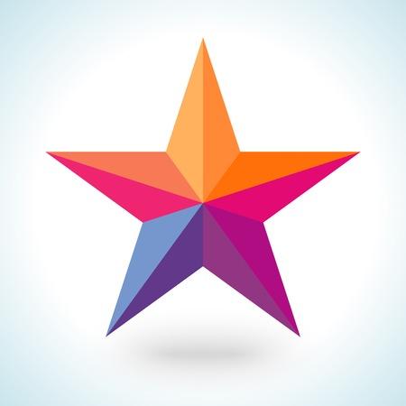lucero: Colorida forma de la estrella brillante en cristal de estilo poligonal moderna sobre fondo blanco. Ilustraci�n del vector para vacaciones dise�o patri�tico. Por parte de carteles, tarjetas de felicitaci�n, banner o invitaci�n.