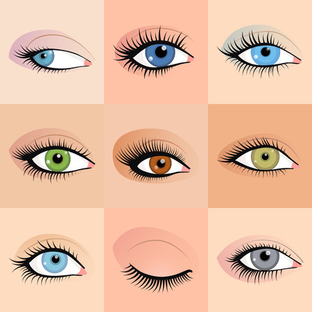 Set of female eyes images with beautifully fashion make up. Vector illustration for health glamour design. Blue, green and brown colors. Close and open woman eyes.