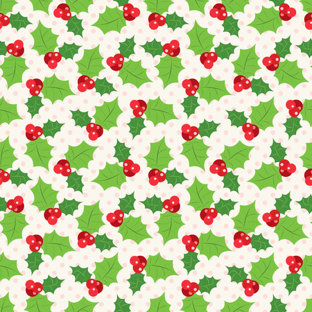 sprig: Seamless pattern of holly berry sprig. Vector illustration of christmas holiday design. Green and red colors.