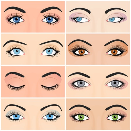 woman close up: Set of female eyes and brows image with beautifully fashion make up. Vector illustration for health glamour design. Blue, green and brown colors. Close and open woman eyes. Illustration