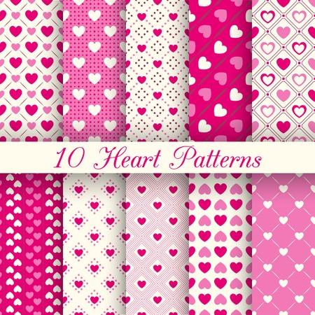 10 Heart shape seamless patterns.