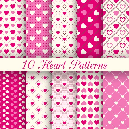 pretty: 10 Heart shape seamless patterns.