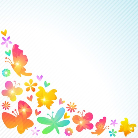 amasing: Colorful spring background design. Vector illustration for amasing surprise concept design. Abstract floral artistic element. Inspiration style. Pink, yellow, orange, blue, green and purple color. Illustration