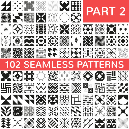 geometrics: 102 Universal different vector seamless patterns. Endless texture can be used for wallpaper, pattern fills, web page background,surface textures. Set of monochrome geometric ornaments.