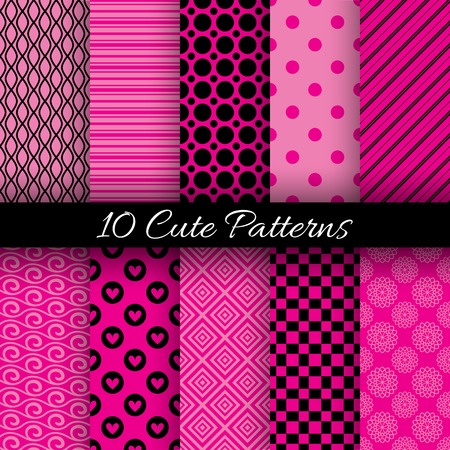 10 Cute abstract geometric bright seamless patterns. Vector illustration for attractive design. Endless texture can be used for fills, web page background, surface. Pink and black colors. Vector