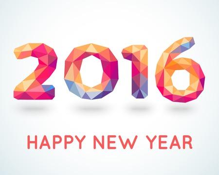 frohes neues jahr: Frohes Neues Jahr 2016 bunte Gru�karte in polygonalen Origami-Stil. Vektor-Illustration f�r Ferien-Design. Party Poster, Gru�karte, Banner oder Einladung. Anzahl von Dreiecken gebildet.