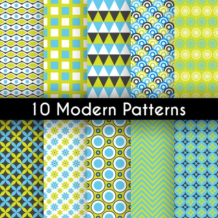 10 Different modern vector seamless patterns. Texture can be used for printing onto fabric and paper or scrap booking. Abstract geometric shapes.