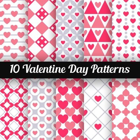 10 Heart shape vector seamless patterns. Pink color. Endless texture can be used for printing onto fabric and paper or scrap booking. Valentines day background for invitation. 矢量图像