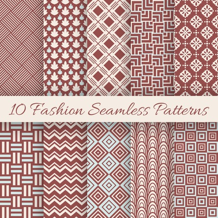 10 Fashion marsala color seamless pattern set. Vector illustration for vintage design. Endless texture can be used for printing onto fabric and paper or scrap booking. Abstract retro line ornament. Vector