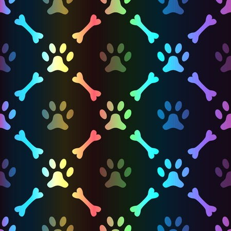 Animal spectrum seamless vector pattern of paw footprint and bone on black background. Dog style. Shiny grunge wallpaper. Vector