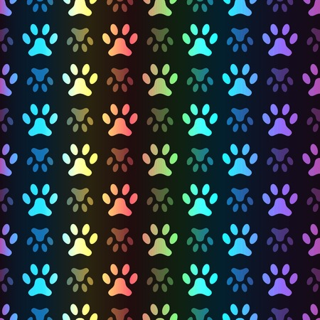 Animal seamless spectrum vector pattern of paw footprint on black background. Polka dog style. Colorful. Shiny grunge wallpaper. Vector