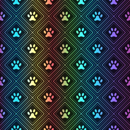Seamless animal spectrum pattern of paw footprint in repeating rhombus on black background. Dog style. Shiny grunge wallpaper.