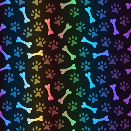 Animal spectrum seamless vector pattern of paw footprint and bone on black background. Dog style. Shiny grunge wallpaper.