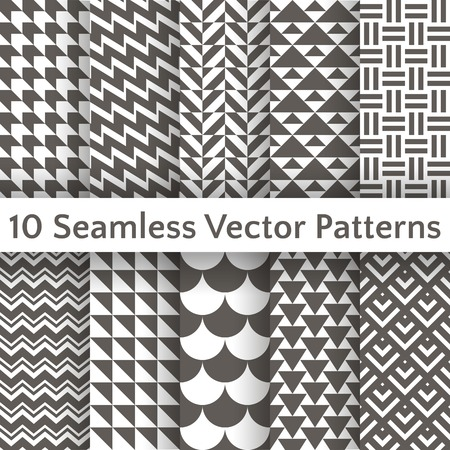 10 Fashionable geometric seamless pattern set. Vector illustration for retro design. Endless texture can be used for printing onto fabric and paper or scrap booking. Abstract different shapes ornament.