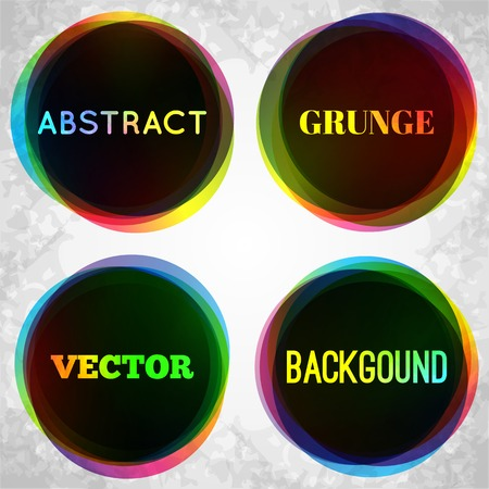 illustration for advertising: Abstract grunge frame background. Vector illustration for advertising design. Special offer sticker and vintage tag. With texture backdrop. Bright colorful and black round shapes.