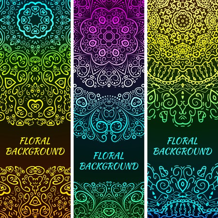 oriental rug: Bright asian decorative headers. Vector illustration for your fashion design. Colorful element on black background. Border and frame. Oriental rug napkin. Abstract pattern.