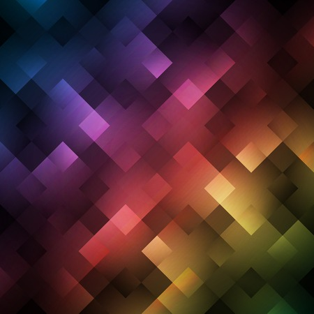 glows: Abstract bright spectrum wallpaper. Vector illustration for modern disco design. Cool pattern background. Rainbow and black colors. Diamond and square shapes with lights and glows.