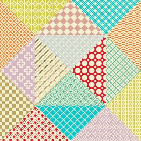 Retro patchwork. 16 Vector seamless patterns. Endless texture can be used for wallpaper, pattern fill, web page background,surface textures. Set of monochrome geometric ornaments. Illustration