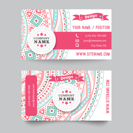 feminine hands: Business card template, blue, white and pink beauty fashion pattern vector design editable trible. Vector illustration for modern design. Beautiful ornate pattern.