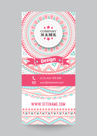 Corporate identity template with doodles tribal theme. Vector illustration for pretty design. Ethnic vintage patterns. Pink, blue and white colors. Border, frame, icon elements. Vector