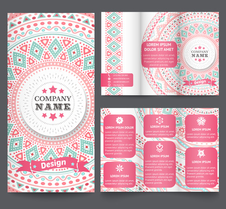Professional three fold business flyer template, corporate brochure or cover design with doodles tribal theme.. Vector illustration for pretty feminine design.  Ethnic vintage patterns Vector