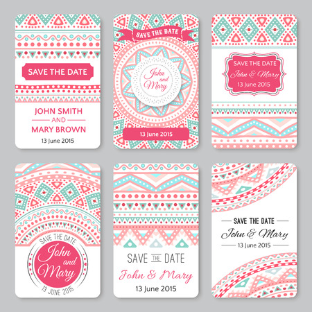 Set of perfect wedding templates with doodles tribal theme. Ideal for Save The Date, baby shower, mothers day, valentines day, birthday cards, invitations. Vector illustration for pretty design. Çizim