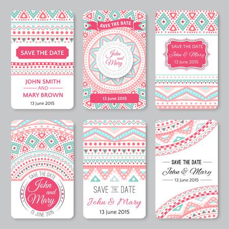 Set van de perfecte bruiloft sjablonen met doodles tribale thema. Ideaal voor sparen de datum, baby douche, moeders dag, Valentijnsdag, verjaardagskaarten, uitnodigingen. Vector illustratie voor het mooie design.