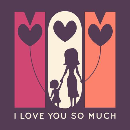 te amo: Tarjeta feliz retro de felicitación del día de la madre. Ilustración del vector para el diseño de fiesta. Mamá - te amo tanto. Silueta de la madre y su hija con los globos en forma de corazón. Vectores