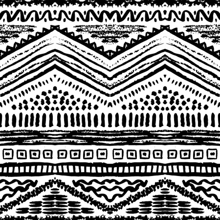 tribal: Hand drawn painted seamless pattern. Vector illustration for tribal design. Ethnic motif. Zigzag and stripe line. Black and white colors. For invitation, web, textile, wallpaper, wrapping paper.