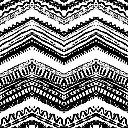 zig zag: Hand drawn painted seamless pattern. Vector illustration for tribal design. Ethnic motif. Zigzag and stripe line. Black and white colors. For invitation, web, textile, wallpaper, wrapping paper.
