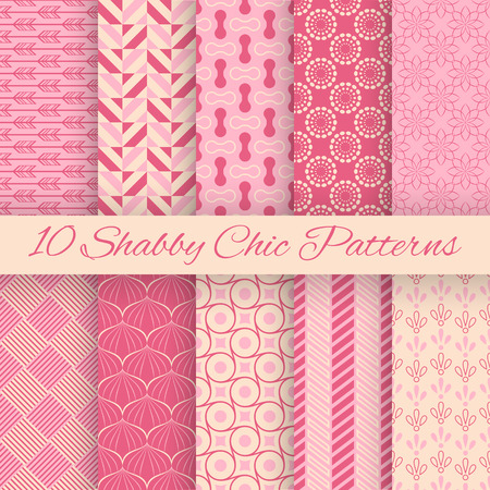 10 Shaby chic vector seamless patterns. Fond pink and white colors. Endless texture can be used for printing onto fabric and paper or invitation. Abstract geometric shapes. Ilustração