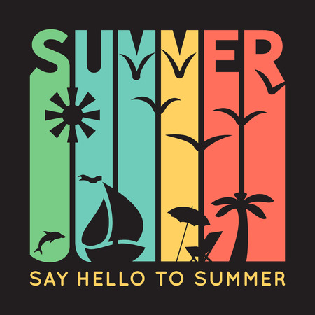 Summer typography with beach icons, t-shirt graphics on black background. Vector illustration. Banner of simple bright symbols of holidays. Sun, boat, palm tree, bird.